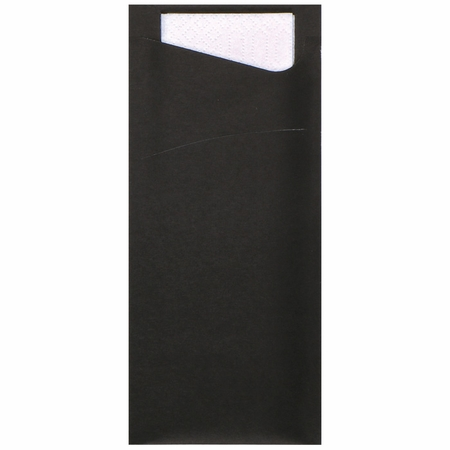 """7.5"""" x 3.25"""" Black Cutlery Pouches 350 ct"""