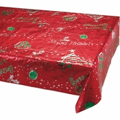Metallic Printed Christmas Plastic Tablecloths 6 ct