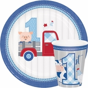Farmhouse 1st Birthday Boy Party Supplies