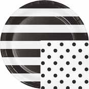 Black Polka Dots and Stripes Party Supplies