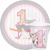 Farmhouse 1st Birthday Girl Party Supplies