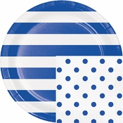 Cobalt Blue Polka Dots and Stripes Party Supplies