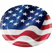 Patriotic Flag Oval Plates 96 ct