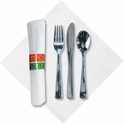 White with green and red band Festive Holiday FashnPoint CaterWrap with Metallic Cutlery sold in quantities of 50 per pkg / 2 pkgs per case