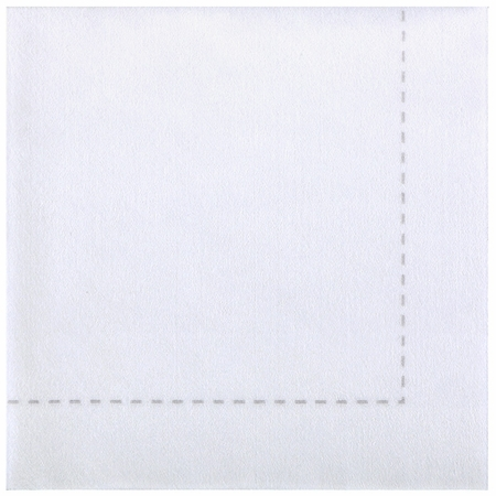 "7.75"" x 7.75"" Bello Lino White Stitch Dinner Napkins 600 ct"