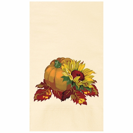 "7.5"" x 4.25"" Fall Bounty Ecru Dinner Napkins 1000 ct"