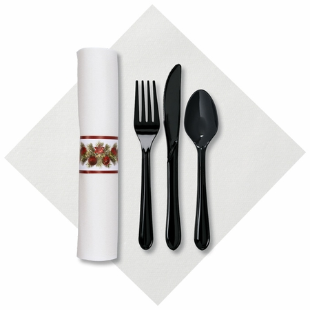 """8"""" x 8.5"""" Pre-rolled Linen-Like Holiday Bough CaterWrap White Dinner Napkins 100 ct"""