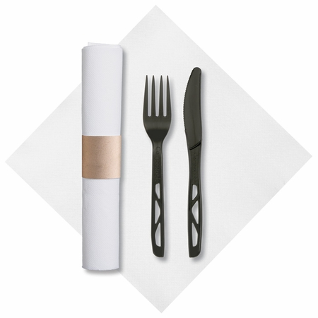 """7.75"""" x 7.75"""" Pre-rolled FashnPoint CaterWrap White Dinner Napkins Black Knife and Fork 50 ct"""