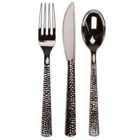 Silver Hammered Assorted Cutlery 300 ct