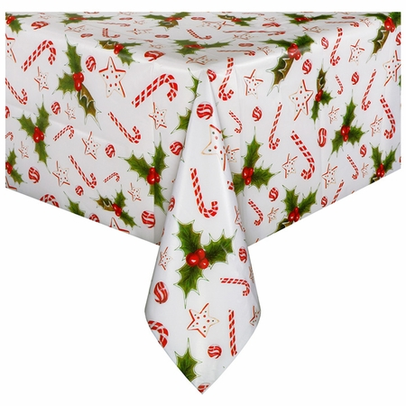 """54"""" x 108"""" Holiday Happiness White Plastic Tablecloths 12 ct"""