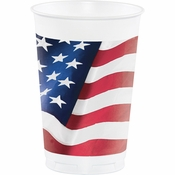 Patriotic Flag 16 oz Plastic Cups 96 ct
