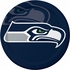 Blue and silver Seattle Seahawks Dinner Plates sold in quantities of 8 / pkg, 12 pkgs / case