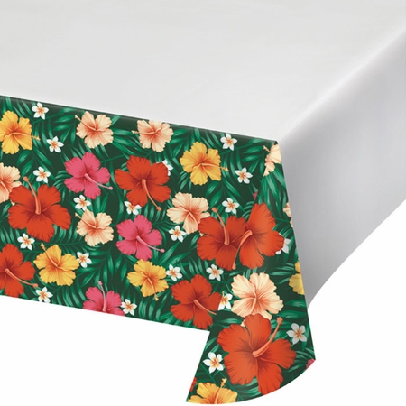 Tropical Flowers Plastic Tablecloths 12 ct