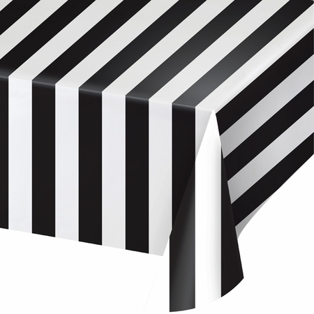 Black and White Stripes Plastic Tablecloths 6 ct