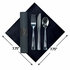 FashnPoint Gold & Silver Stripe CaterWrap with Metallic Cutlery in quantities of 50 / pkg, 2 pkgs / case