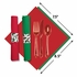 Holly CaterWrap with Red & Green Dinner Napkins & Clear Cutlery sold in quantities of 50 per pkg / 2 pkgs per case