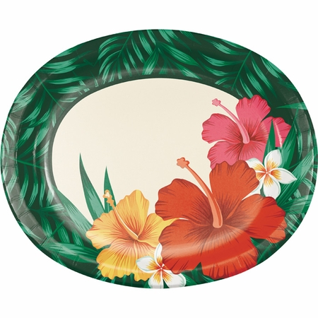 Tropical Flowers Oval Plates 96 ct