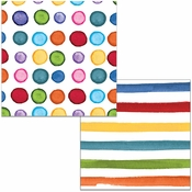 Multicolor Dots and Stripes Beverage Napkins 288 ct