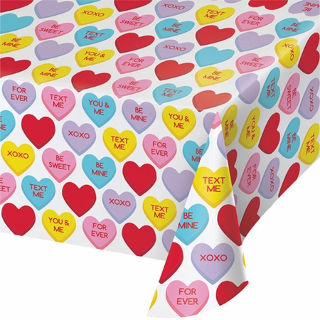 Candy Hearts Valentines Day Plastic Tablecloths 12 ct