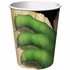 Green and tan Dino Blast 9 oz Cups sold in quantities of 8 / pkg, 12 pkgs / case.