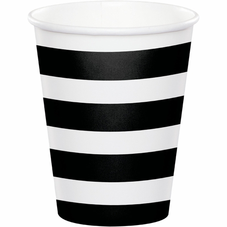 Black Polka Dots and Stripes Paper Cups 96 ct