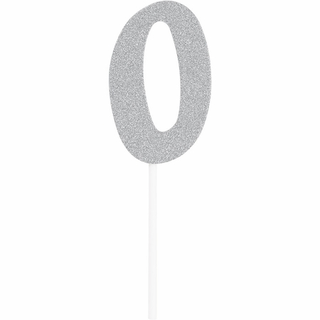Number 0 Silver Glitter Cake Toppers 12 ct