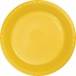Touch of Color School Bus Yellow Plastic Dinner Plates in quantities of 20 / pkg, 12 pkgs / case