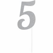 Number 5 Silver Glitter Cake Toppers 12 ct