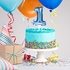 Blue 1 Number Balloons Cake Toppers 12 ct