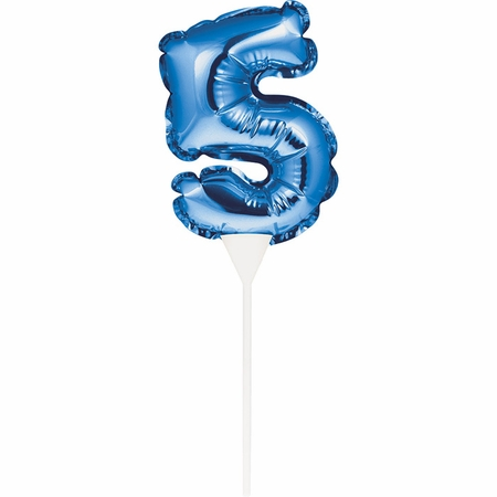 Blue 5 Number Balloons Cake Toppers 12 ct