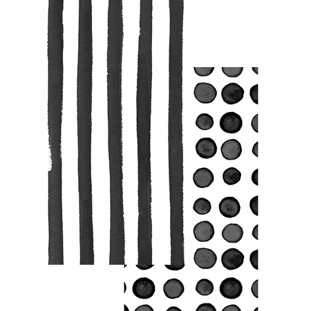 Black Licorice Dots and Stripes Guest Towels 192 ct