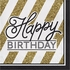 Black and Gold Birthday Luncheon Napkins 192 ct