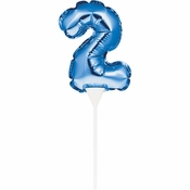 Blue 2 Number Balloons Cake Toppers 12 ct