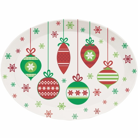 Christmas Ornaments Oval Plastic Trays 12 ct