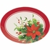 Christmas Poinsettia Oval Plastic Trays 12 ct