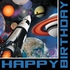 Black and blue Space Blast Happy Birthday Luncheon Napkins are sold in quantities of 16 / pkg, 12 pkgs / case