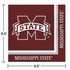 Maroon and white Mississippi State Luncheon Napkin sold in quantities of 20 / pkg, 12 pkgs / case