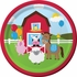 Red and green Farmhouse Fun Dessert Plates are sold in quantities of 8 / pkg, 12 pkgs / case