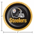 Black, white and gold Pittsburgh Steelers Dessert Plates sold in quantities of 8 / pkg, 12 pkgs / case