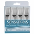 Silver Metallic BPA free plastic Sensations Mini Forks is sold in quantities of 24 / pkg, 12 pkgs / case