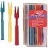 Multicolored Cocktail Forks measure 3 inches and are sold in quantities of 30 / pkg, 12 pkgs / case