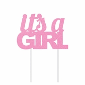 Pink Glitter Its a Girl Cake Toppers 12 ct
