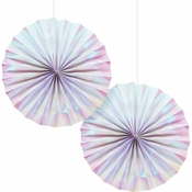 Iridescent Party Paper Fans 24 ct