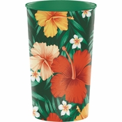 Tropical Flowers Plastic Cups 20 ct