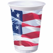 Waving Flag Fourth of July Plastic Cups 96 ct