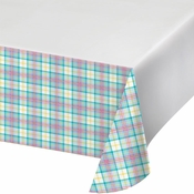 Easter Plaid Plastic Tablecloths 12 ct