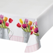 Springtime Tulips Plastic Tablecloths 12 ct