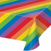 Rainbow Stripes Plastic Tablecloths 6 ct