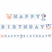 Farmhouse 1st Birthday Boy Banners 12 ct