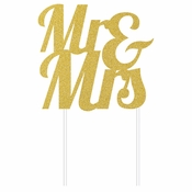 Gold Glitter Mr & Mrs Cake Toppers 12 ct